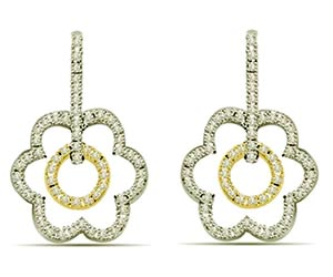 0.80 cts Two Tone Diamond Earrings -Two Tone Earrings