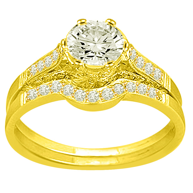 0.87TCW F /SI1 Sol Diamond Wedding Engagement rings Set -Rs.100001 -Rs.150000