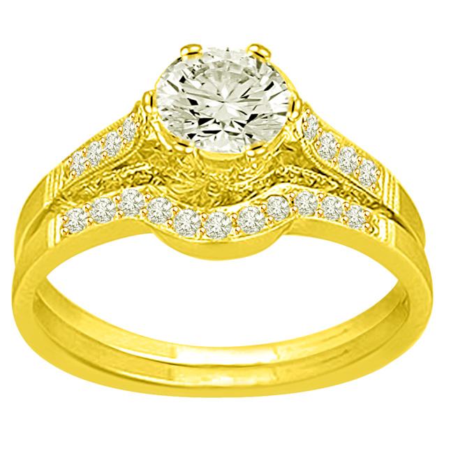 0.87TCW F /SI1 Sol Diamond Wedding Engagement rings Set -Rs.100001 -Rs.150000