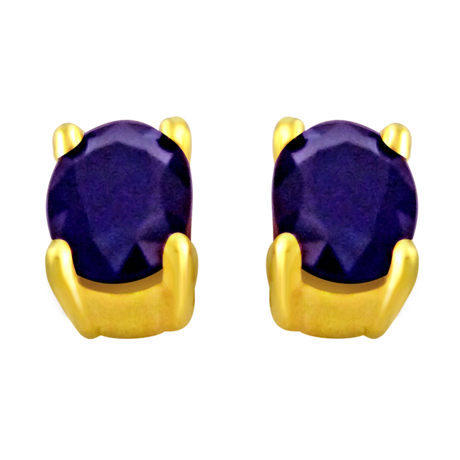 0.88 cts Sapphire 18k Gold rings -Gemstone Earrings