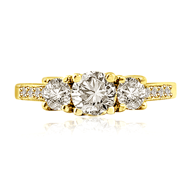 0.88TCW L/VS1 Cert Sol Diamond Bridal rings with Accents -Rs.150001 -Rs.200000