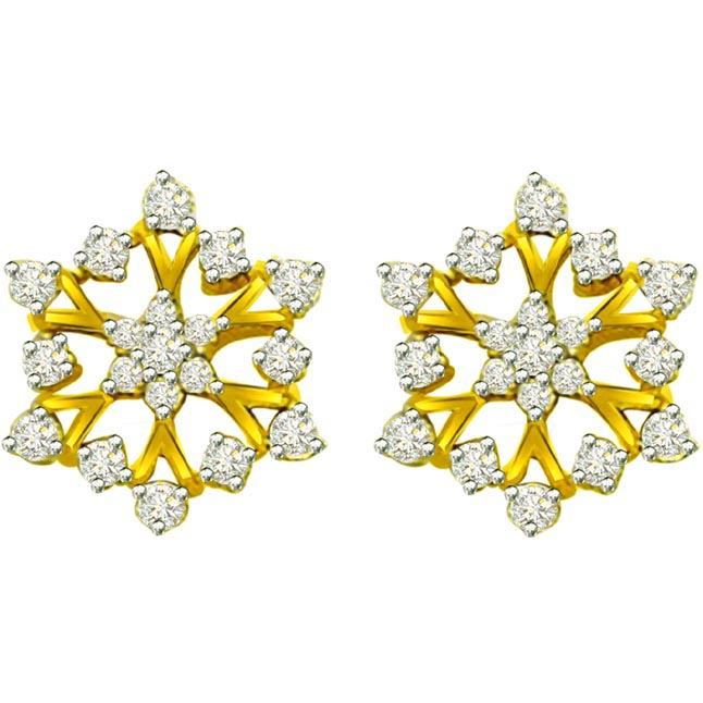 0.90ct Diamond Flower Shape Earrings ER -331 -Flower Shape Earrings