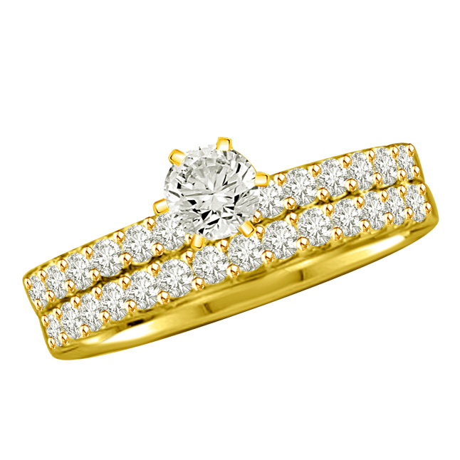 0.92TCW L/SI2 Cert Diamond Engagement Wedding rings Set -Rs.100001 -Rs.150000