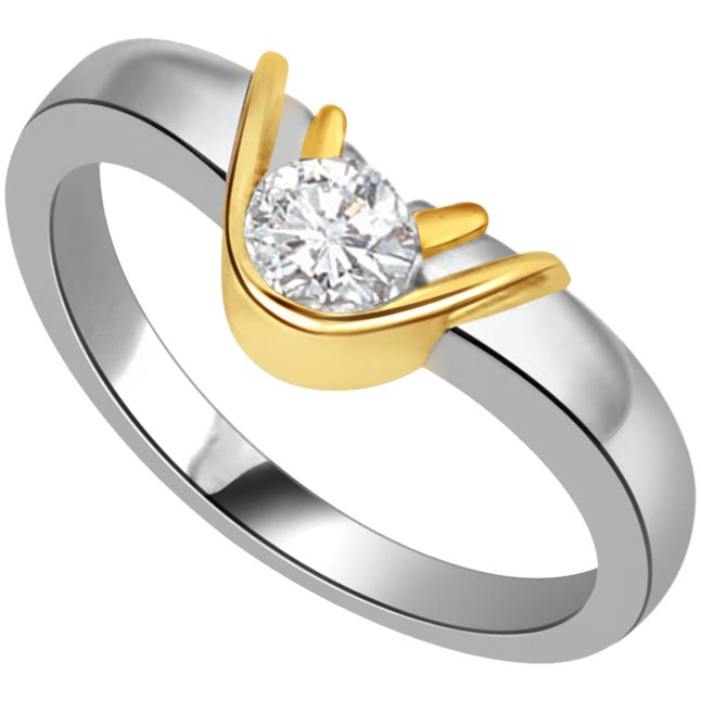 1.00 ct Diamond Two Tone Solitaire rings SDR417