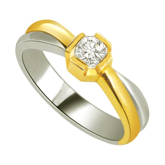1.00 ct Diamond Two Tone Solitaire rings SDR418