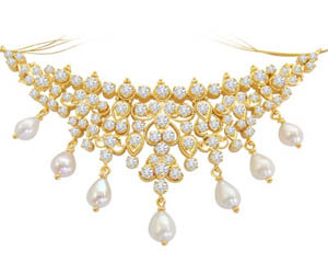 1.00 cts Diamond Pendants with Real Pearls -Diamond Necklace