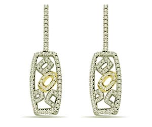 1.00 cts Two Tone Designer Diamond Earrings -Two Tone Earrings