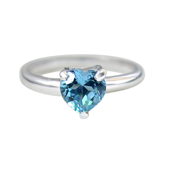 1.00ct Heart Shape Brilliant Swiss Blue Topaz Sterling Silver Love rings for Her
