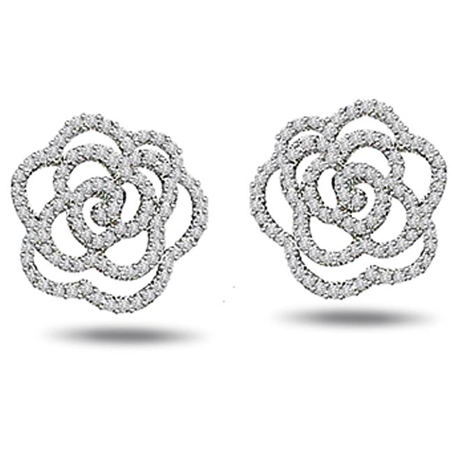 1.00ct White Gold Diamond Earrings -Flower Shape Earrings