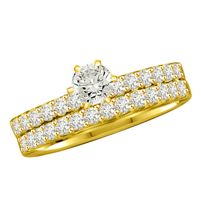 1.02TCW J/I1 Cert Diamond Engagement Wedding rings Set -Rs.100001 -Rs.150000