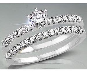 1.02TCW E/ SI1 Cert Diamond Wedding Engagement rings Set -Rs.100001 -Rs.150000