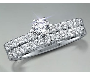 1.02TCW H/ SI1 Cert Diamond Engagement Wedding rings Set -Rs.150001 -Rs.200000