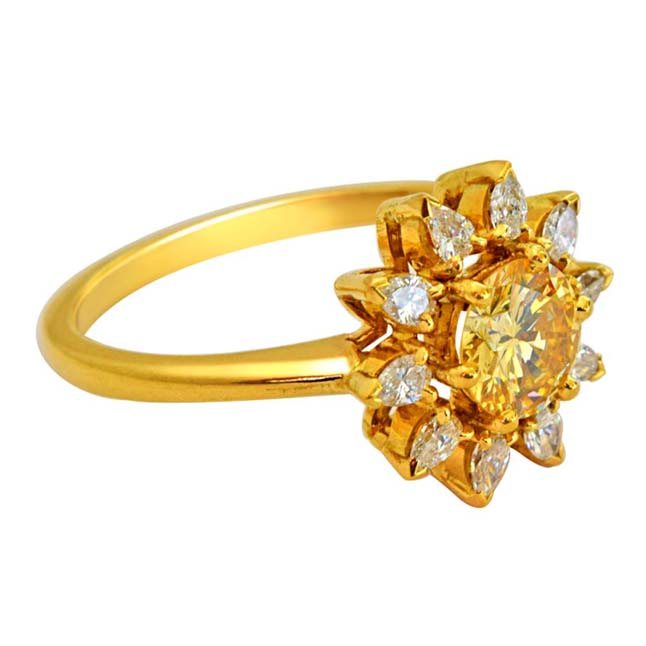 IGL Certified 1.04ct Light Fancy Yellow VS & Pear H VS-SI Diamond Solitaire Engagement Ring