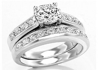 1.04TCW J/SI2 Cert Diamond Engagement Wedding rings Set -Rs.150001 -Rs.200000