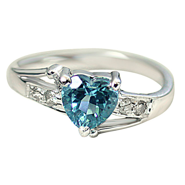 1.10ct Diamond & Swiss Blue Topaz Heart Shape 925 Silver rings