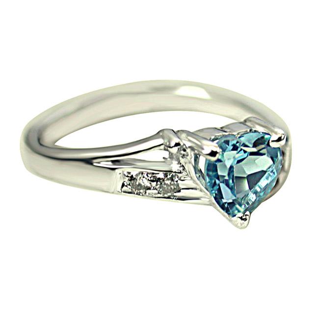 1.10ct Diamond & Swiss Blue Topaz Heart Shape 925 Silver rings