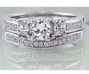 1.10TCW E /SI2 Diamond Wedding B in 14k White Gold -Rs.200001 -Rs.300000