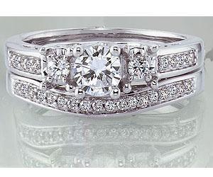 1.10TCW E /SI2 Diamond Wedding B in 14k White Gold -Rs.200001 -Rs.300000