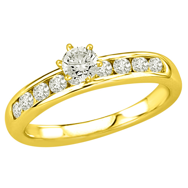 1.12TCW E/SI2 Solitaire Diamond Ring in Closed Setting