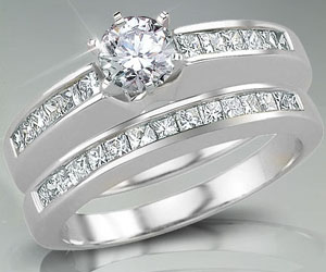 1.20TCW J/I1 Engagement Wedding rings Set in 14k Gold -White Gold rings