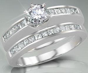 1.20TCW J/I1 Engagement Wedding rings Set in 14k Gold -White Gold rings