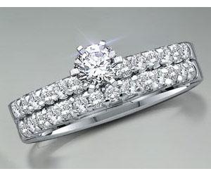 1.22TCW J/I1 Cert Diamond Engagement Wedding rings Set -Rs.150001 -Rs.200000