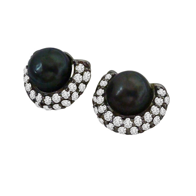 1.25ct Real Diamond & Tahitian Black Pearl Earrings In 925 Silver -Tahitian Pearl Earrings