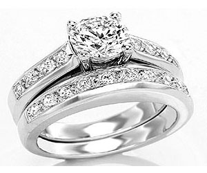 1.34TCW H/ SI1 Cert Diamond Engagement Wedding rings Set -Rs.300001 -Rs.400000