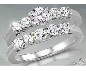 1.36TCW M/SI1 Cert Diamond Engagement Wedding rings Set -Rs.200001 -Rs.300000
