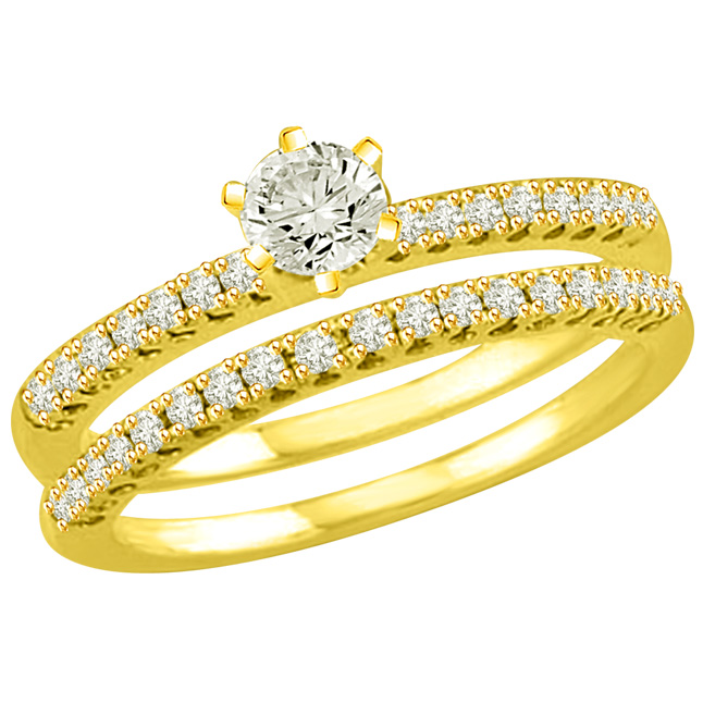 1.42TCW G/SI2 Cert Diamond Wedding Engagement rings Set -Rs.200001 -Rs.300000