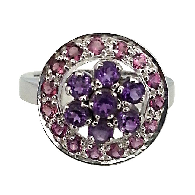1.52 ct Amethyst & Rhodolite Colourful Flower rings