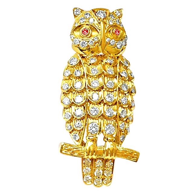 IGL Certified 1.59cts Natural Diamond Owl Brooch