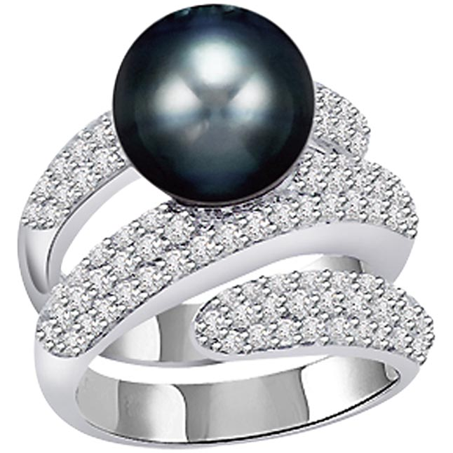 1.60ct Diamond Set In Black Tahitian Pearl rings