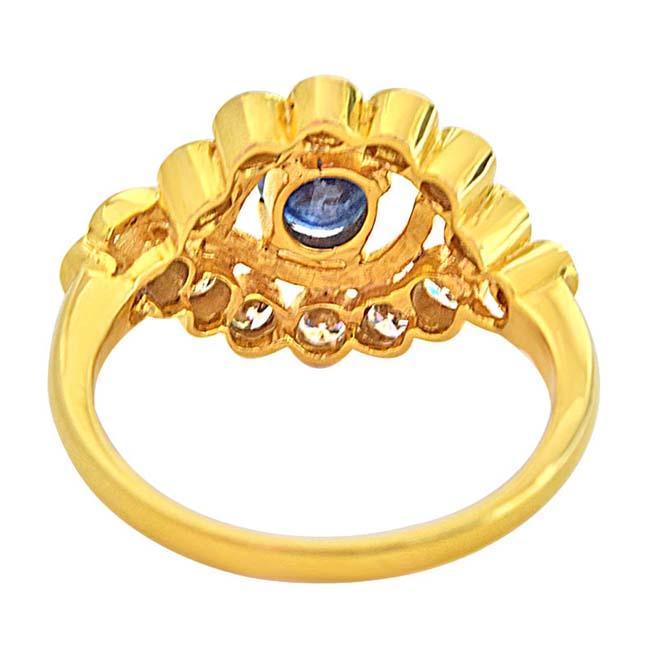 1.68ct H/VS Diamond & Blue Oval Sapphire 18k Gold Engagement Wedding rings