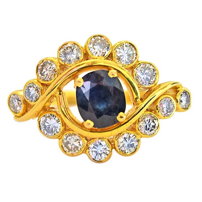 1.68ct H/VS Diamond & Blue Oval Sapphire 18k Gold Engagement Wedding Ring
