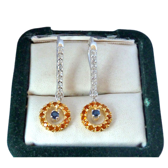 1.76ct Blue Sapphire,Citrin & White Topaz Hanging gemstone Sterling Silver Earrings -Gemstone Earrings