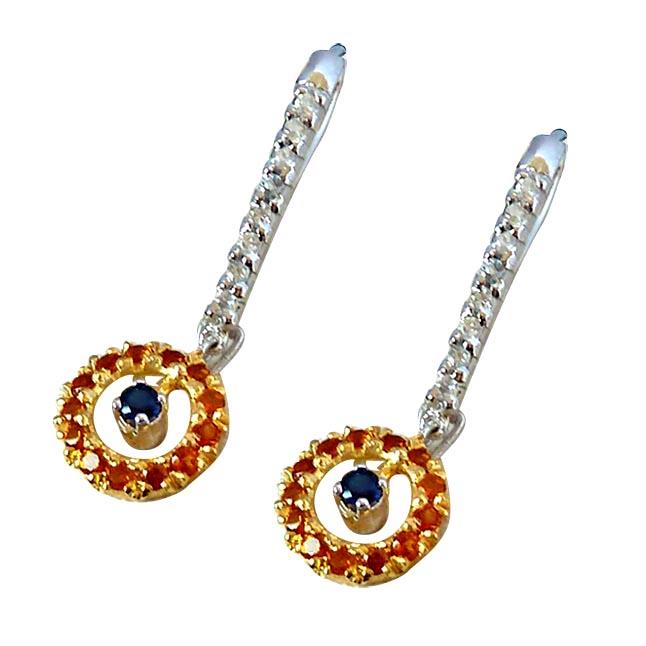1.76ct Blue Sapphire,Citrin & White Topaz Hanging gemstone Sterling Silver Earrings -Gemstone Earrings