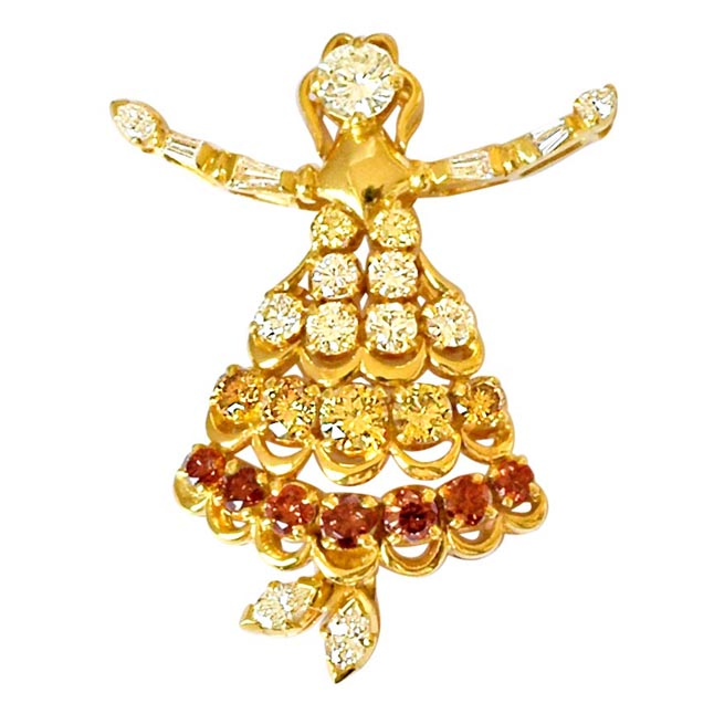 1.76ct White & Fancy colour Diamond Doll Brooch for Wedding -Diamond Brooches