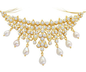 1.80 cts Diamond Pendants with Real Pearl Necklace Pendants -Diamond Necklace