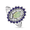 1.84 cts Diamond Sapphire & Opal Stone rings -Gemstone & Diamond