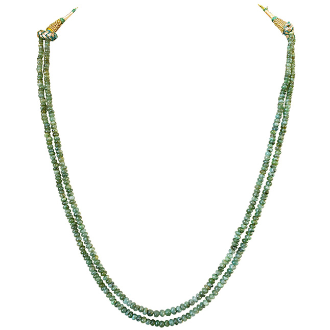 Two Line 100cts REAL Natural Green Emerald Beads Necklace for Women (100cts EMR Neck)