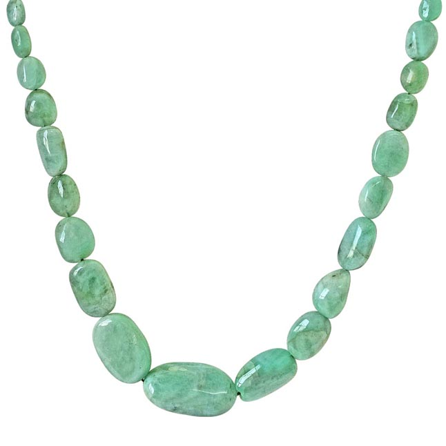 109.56cts Single Line Big Real Natural Light Green Oval Emerald Necklace for Women (109.56cts EMR Neck)
