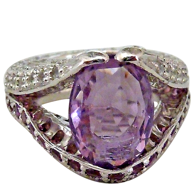 11.42cts Oval Solitaire Amethyst Stylishly Set with Pink Rhodolite & White Topaz Silver rings
