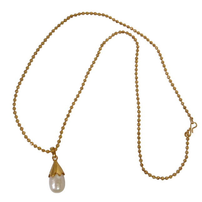11.88 cts BIG Real Drop Pearl & Silver Gold Plated Pendant with Gold Plated 22 IN chain (SDS166)