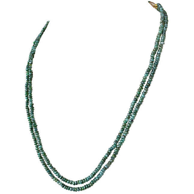 2 Line 110cts Real Natural Green Emerald Beads Necklace for Women (110cts EMR Neck)