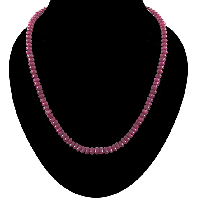 110cts Single Line Real Light Pink Ruby Beads Necklace for Women (110ctsRubyNeck)