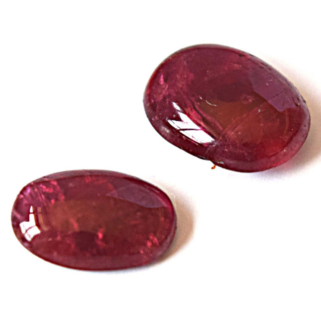 2/11.87cts AA Grade Real Natural Flatish Oval Cabochan Ruby Gemstone for Astrological Purpose (11.87cts Cab Ruby)