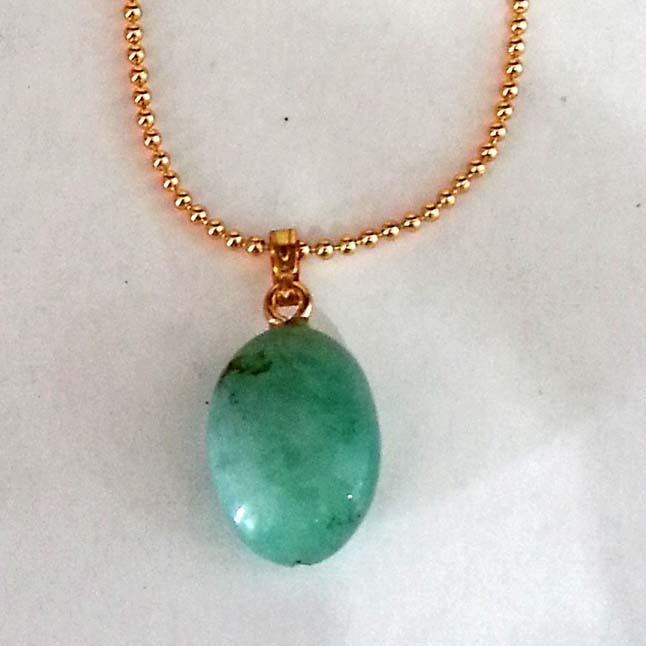 12.79 cts Real Natural Green Big Emerald Pendants with Gold Plated Chain