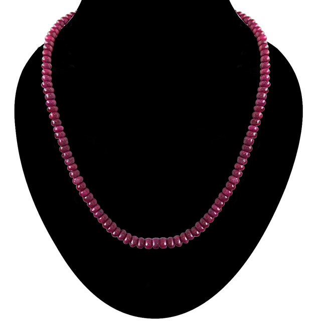 124cts Single Line Real Reddish Pink Ruby Beads Necklace for Women (124ctsRubyNeck)