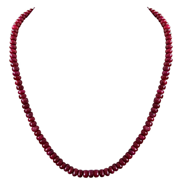 129cts Single Line Real Dark Maroon Ruby Beads Necklace for Women (129ctsRubyNeck)